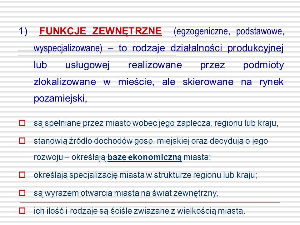 1) FUNKCJE ZEWNĘTRZNE (egzogeniczne, podstawowe, wyspecjalizowane) – to rodzaje działalności produkcyjnej lub usługowej realizowane przez podmioty zlo