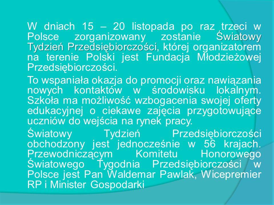 Światowy Tydzień Przedsiębiorczości W dniach 15 – 20 listopada po raz trzeci w Polsce zorganizowany zostanie Światowy Tydzień Przedsiębiorczości, któr
