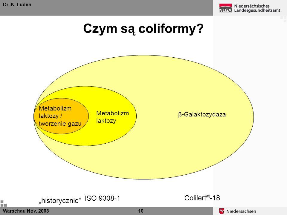 Dr. K. Luden β-Galaktozydaza Colilert ® -18 Warschau Nov. 200810 Metabolizm laktozy ISO 9308-1 Metabolizm laktozy / tworzenie gazu historycznie Czym s