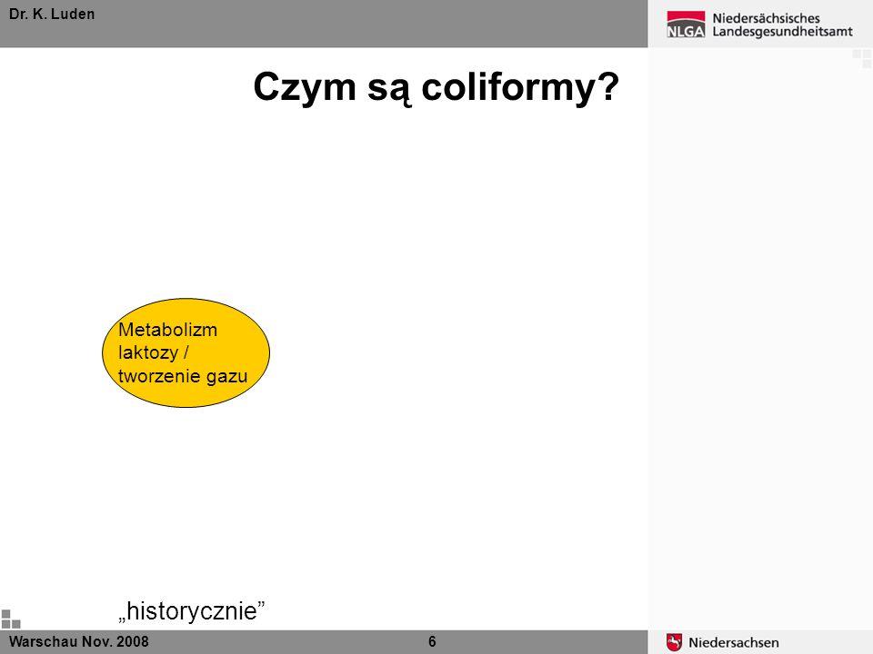Dr. K. Luden Czym są coliformy? Metabolizm laktozy / tworzenie gazu historycznie Warschau Nov. 20086