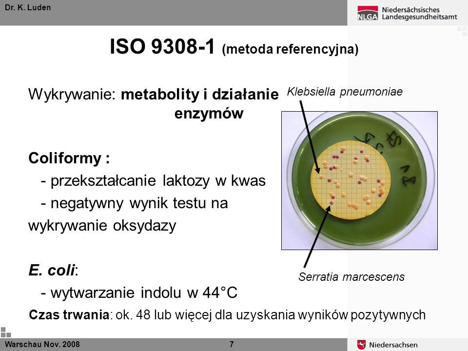 Dr. K. Luden ISO 9308-1 (metoda referencyjna) Klebsiella pneumoniae Serratia marcescens Wykrywanie: metabolity i działanie enzymów Coliformy : - przek