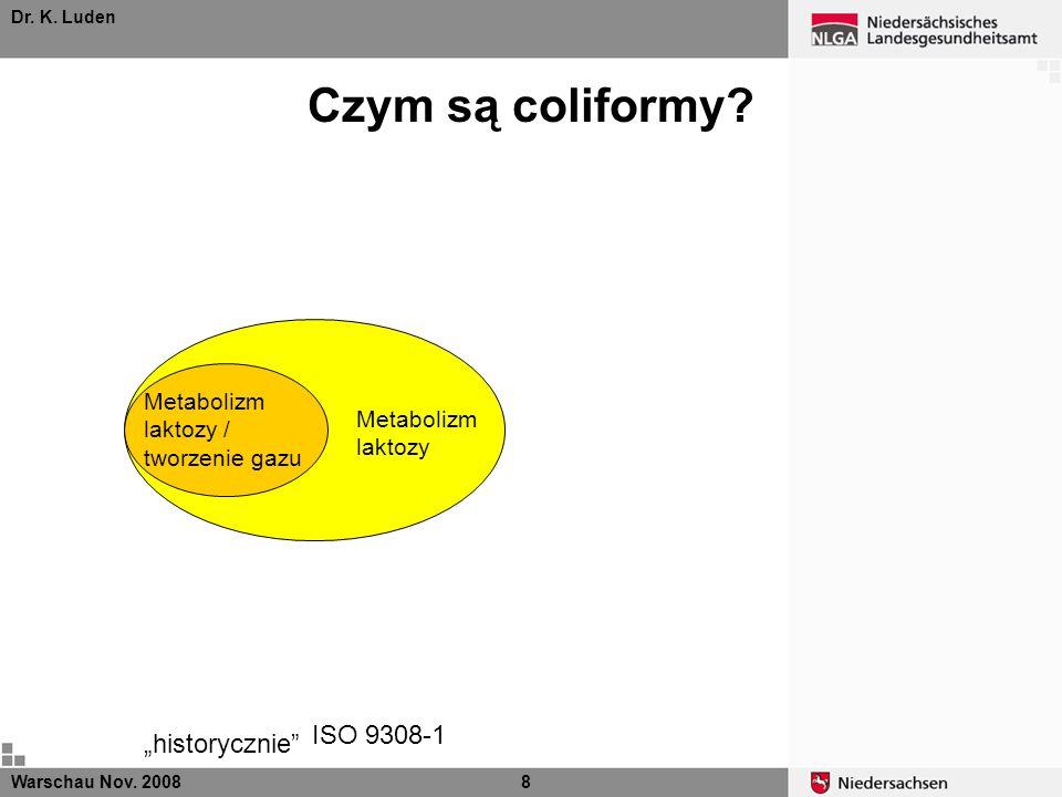 Dr. K. Luden Metabolizm laktozy ISO 9308-1 Warschau Nov. 20088 Metabolizm laktozy / tworzenie gazu historycznie Czym są coliformy?