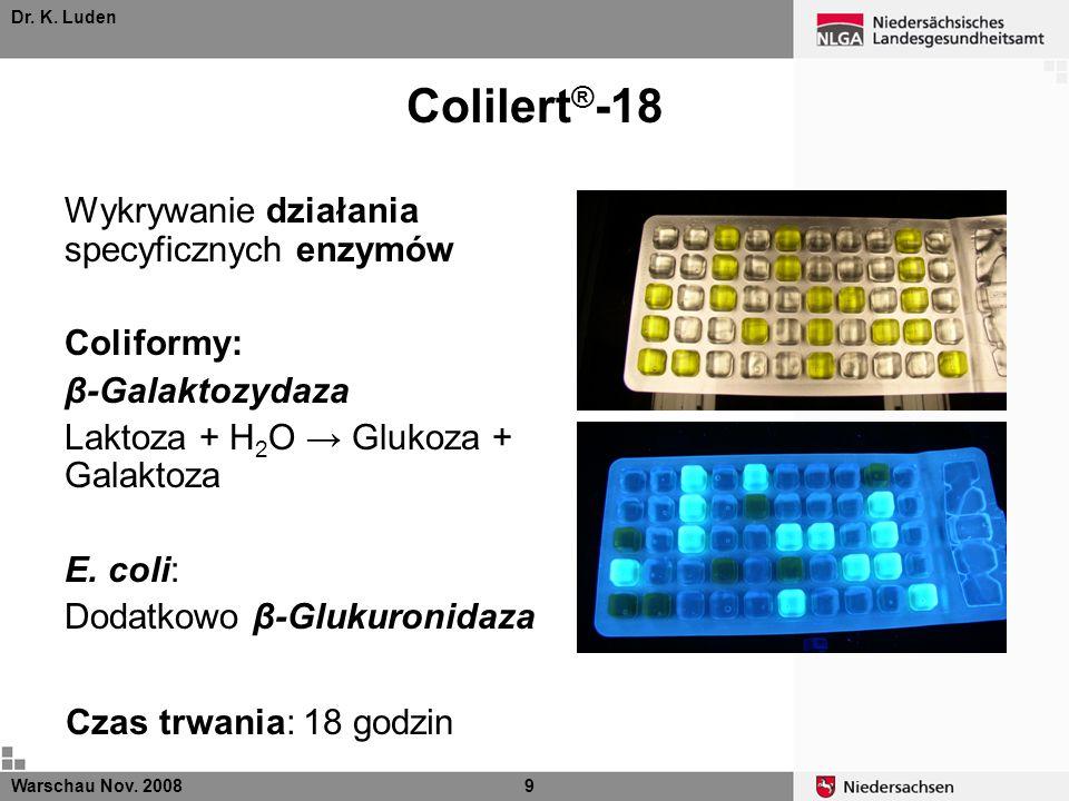 Dr.K. Luden β-Galaktozydaza Colilert ® -18 Warschau Nov.