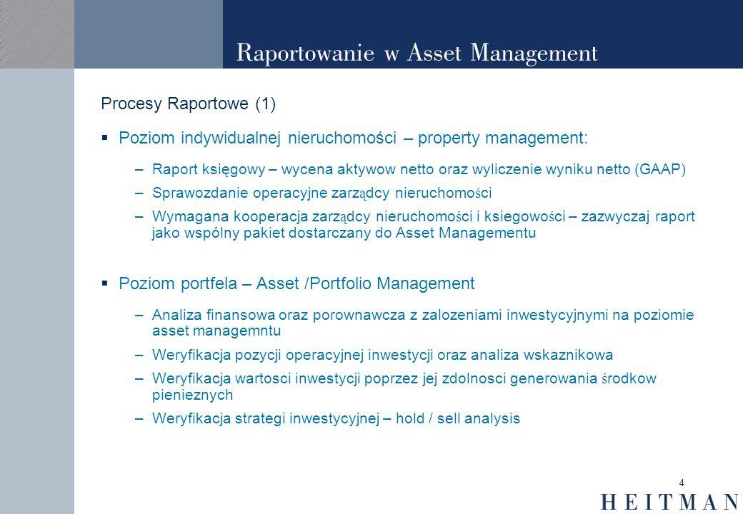 4 Raportowanie w Asset Management Procesy Raportowe (1) Poziom indywidualnej nieruchomości – property management: –Raport księgowy – wycena aktywow ne