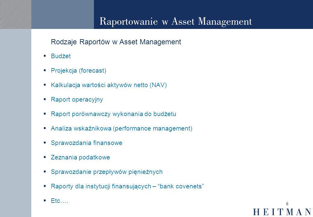 6 Raportowanie w Asset Management Rodzaje Raportów w Asset Management Budżet Projekcja (forecast) Kalkulacja wartości aktywów netto (NAV) Raport opera