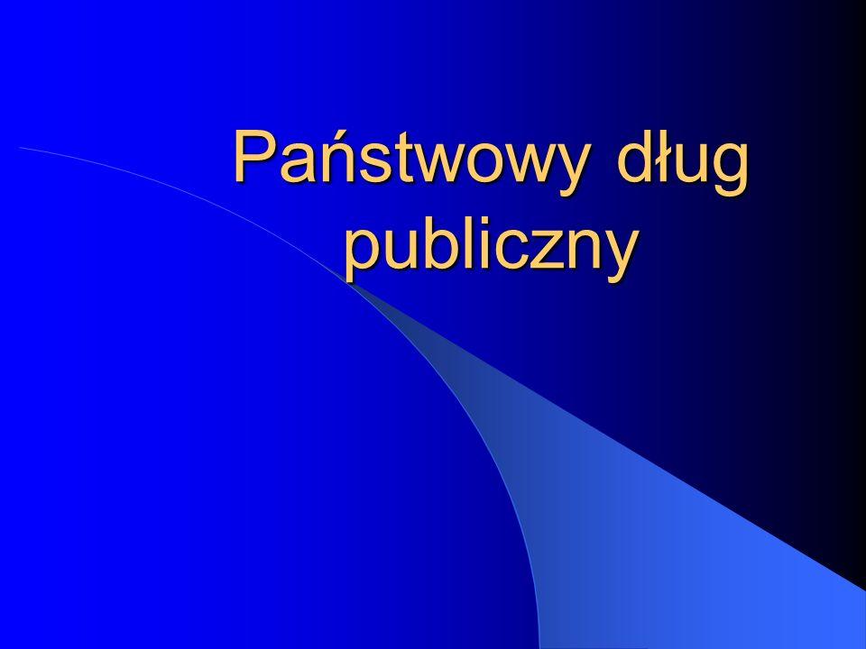 Poziom deficytu budżetu państwa w latach 2005-2009 20052006200720082009 Deficyt budżetu państwa (mld zł) 28,629,330,0 Deficyt budżetu państwa (% PKB) 2,9 2,8 2,7 2,5 2,4 Źródło: Ministerstwo Finansów, Strategia zarządzania długiem sektora finansów publicznych w latach 2007-09, Warszawa 2006, s.