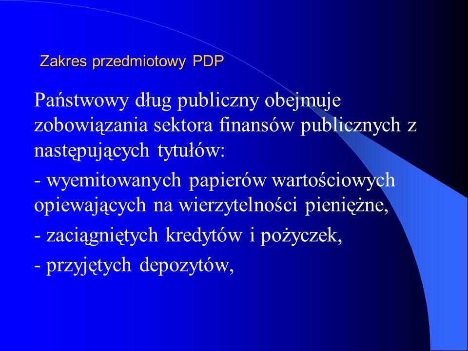 Zakres przedmiotowy PDP Państwowy dług publiczny obejmuje zobowiązania sektora finansów publicznych z następujących tytułów: - wyemitowanych papierów