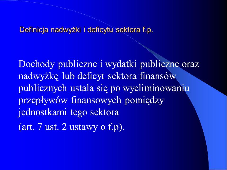 Definicja nadwyżki i deficytu sektora f.p. Dochody publiczne i wydatki publiczne oraz nadwyżkę lub deficyt sektora finansów publicznych ustala się po
