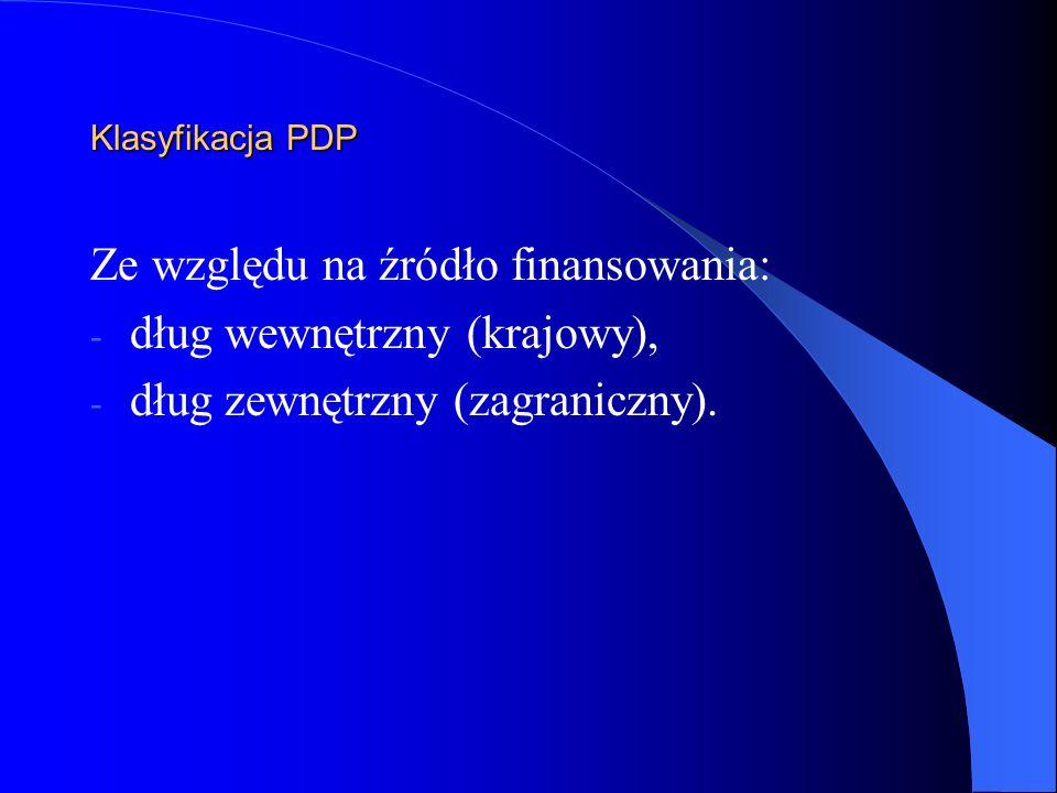 Klasyfikacja PDP Ze względu na źródło finansowania: - dług wewnętrzny (krajowy), - dług zewnętrzny (zagraniczny).