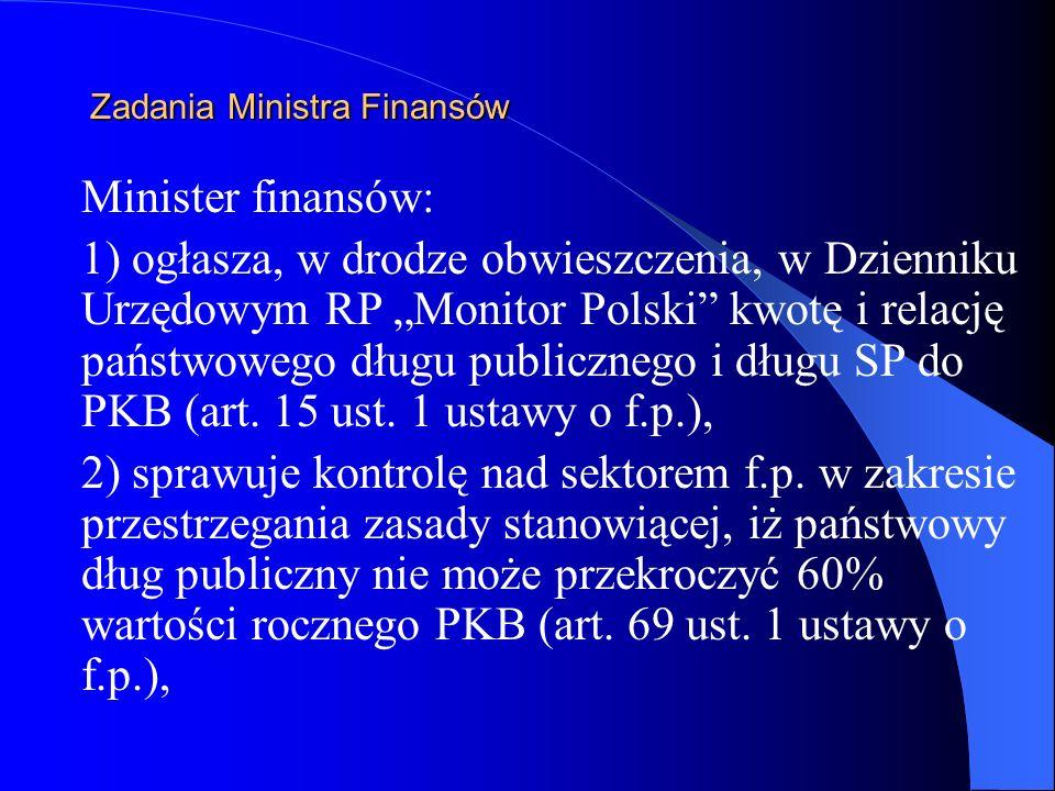 Zadania Ministra Finansów Minister finansów: 1) ogłasza, w drodze obwieszczenia, w Dzienniku Urzędowym RP Monitor Polski kwotę i relację państwowego d