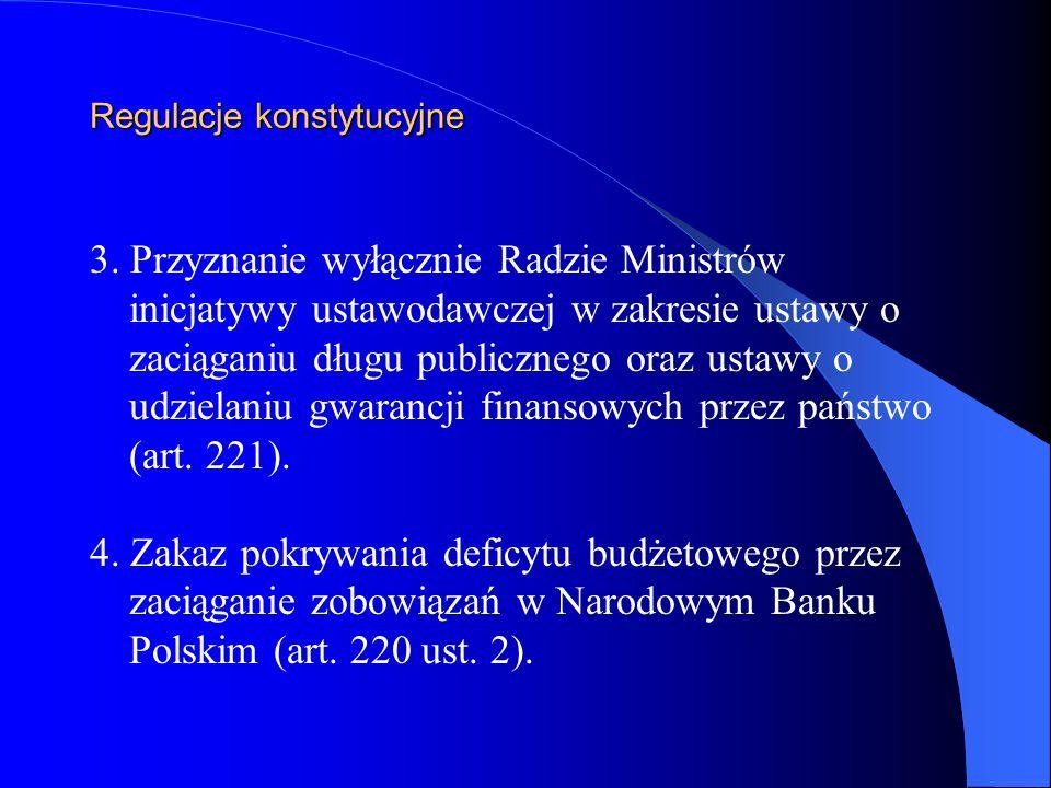 Regulacje konstytucyjne 3. Przyznanie wyłącznie Radzie Ministrów inicjatywy ustawodawczej w zakresie ustawy o zaciąganiu długu publicznego oraz ustawy
