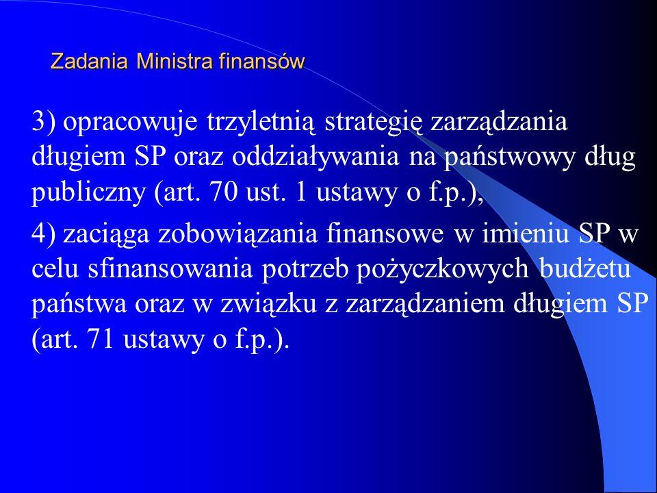 Zadania Ministra finansów 3) opracowuje trzyletnią strategię zarządzania długiem SP oraz oddziaływania na państwowy dług publiczny (art. 70 ust. 1 ust