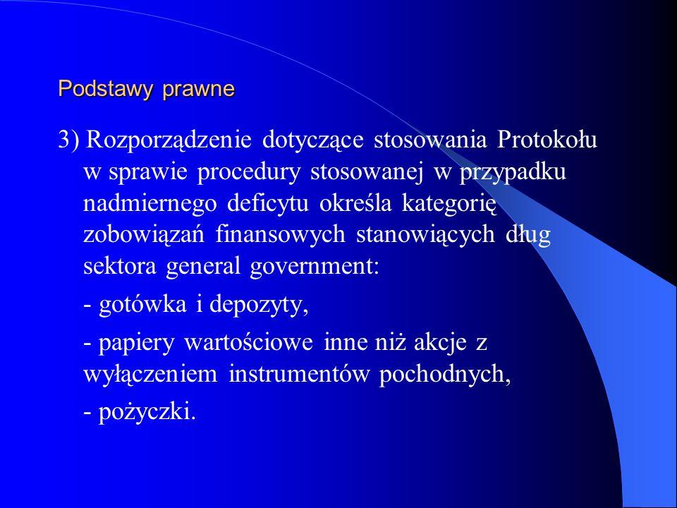 Podstawy prawne 3) Rozporządzenie dotyczące stosowania Protokołu w sprawie procedury stosowanej w przypadku nadmiernego deficytu określa kategorię zob