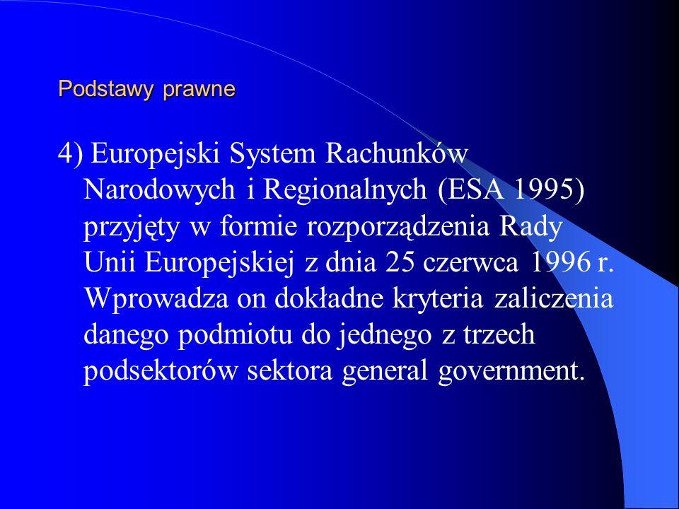 Podstawy prawne 4) Europejski System Rachunków Narodowych i Regionalnych (ESA 1995) przyjęty w formie rozporządzenia Rady Unii Europejskiej z dnia 25