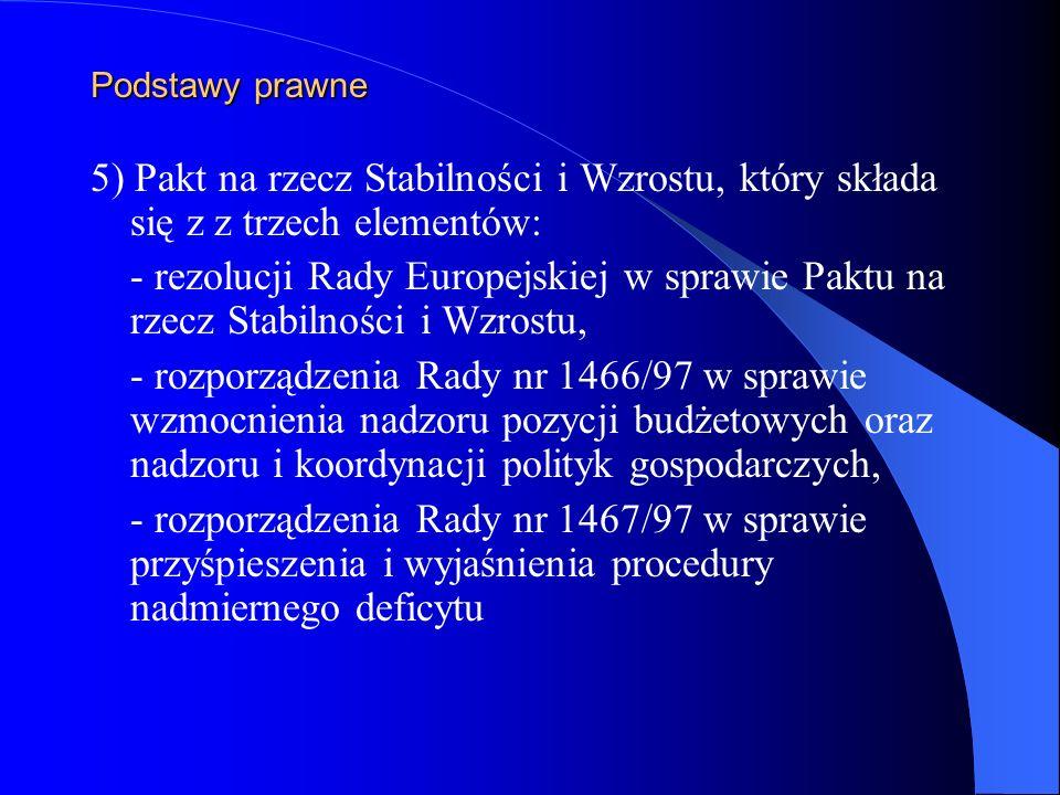 Podstawy prawne 5) Pakt na rzecz Stabilności i Wzrostu, który składa się z z trzech elementów: - rezolucji Rady Europejskiej w sprawie Paktu na rzecz