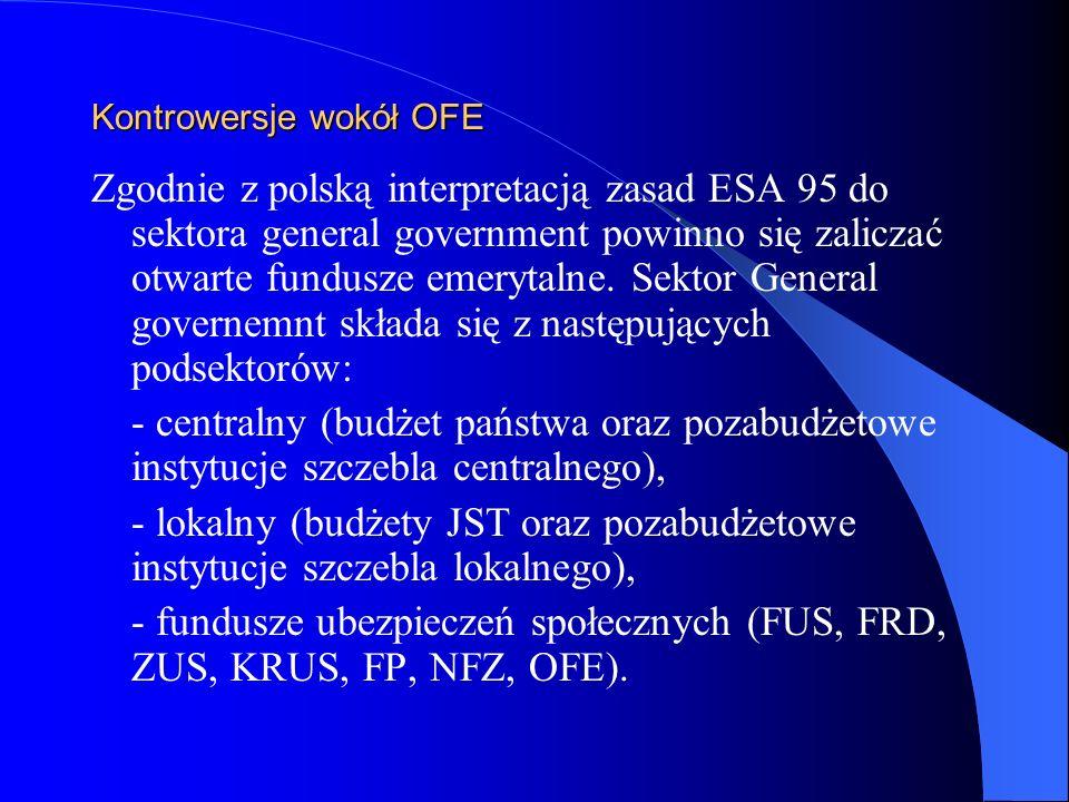 Kontrowersje wokół OFE Zgodnie z polską interpretacją zasad ESA 95 do sektora general government powinno się zaliczać otwarte fundusze emerytalne. Sek
