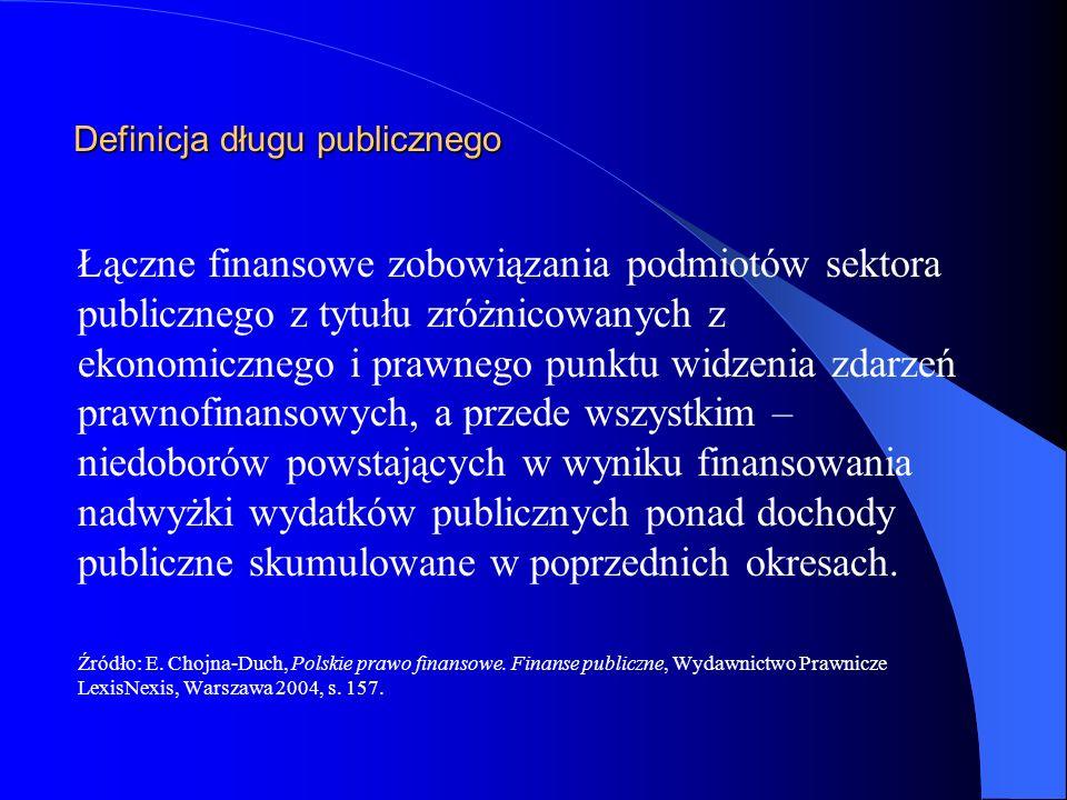 Definicja państwowego długu publicznego Przez państwowy dług publiczny rozumie się wartość nominalną zadłużenia jednostek sektora finansów publicznych ustaloną po wyeliminowaniu wzajemnych zobowiązań pomiędzy jednostkami tego sektora (art.