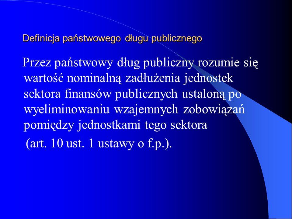 Poziom zadłużenia Polski w latach 2005-2007 200520062007 Dług Skarbu Państwa mld zł440,2483,0532,1 % PKB44,946,648,4 Państwowy Dług Publiczny mld zł467,7510,2556,5 % PKB47,749,250,6 Dług sektora general government (z OFE w sektorze) mld zł411,4439,0474,4 % PKB41,942,443,1 Dług sektora general government (bez OFE) mld zł463,9510,4562,4 % PKB47,349,351,1 Źródło: Ministerstwo Finansów, Strategia zarządzania długiem sektora finansów publicznych w latach 2007-09, Warszawa 2006, s.