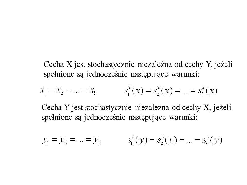 Cecha X jest stochastycznie niezależna od cechy Y, jeżeli spełnione są jednocześnie następujące warunki: Cecha Y jest stochastycznie niezależna od cec