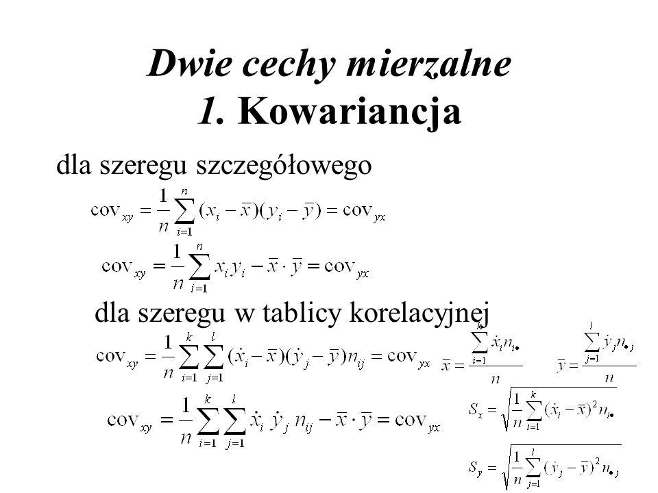 Dwie cechy mierzalne 1. Kowariancja dla szeregu szczegółowego dla szeregu w tablicy korelacyjnej