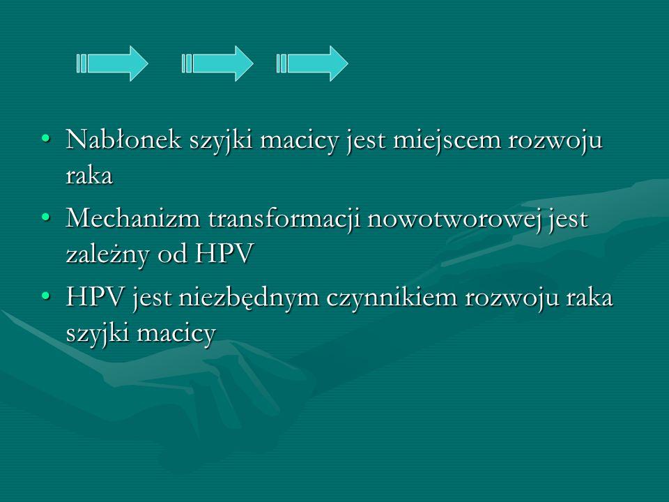 Nabłonek szyjki macicy jest miejscem rozwoju rakaNabłonek szyjki macicy jest miejscem rozwoju raka Mechanizm transformacji nowotworowej jest zależny o
