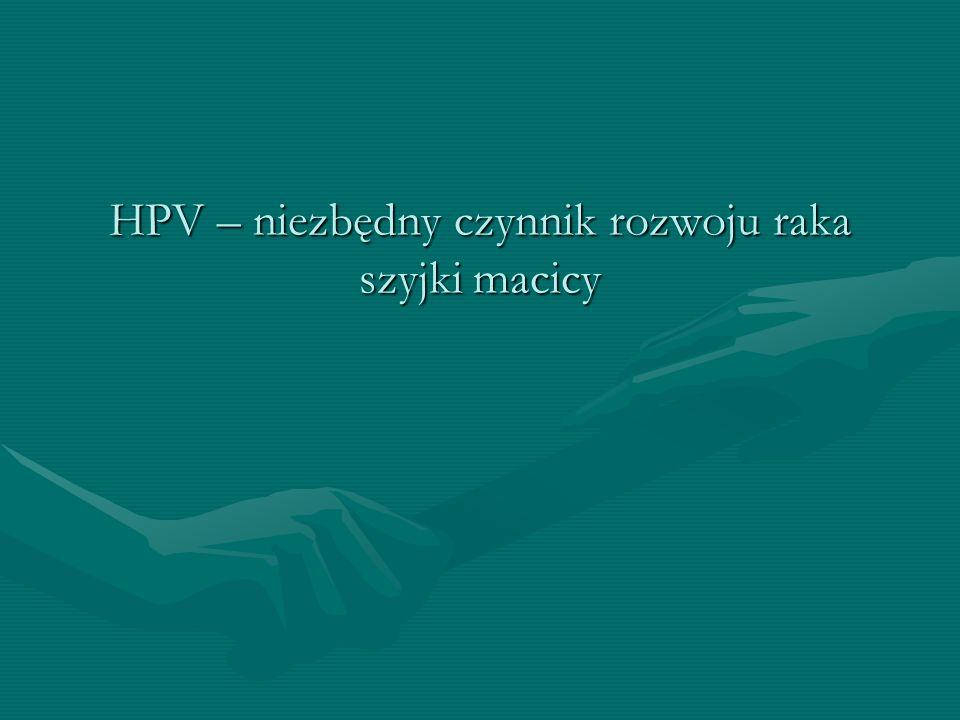 Niezbędny czynnik rozwoju raka Czynnik niezbędny – zidentyfikowany we wszystkich przypadkach raka szyjki macicyCzynnik niezbędny – zidentyfikowany we wszystkich przypadkach raka szyjki macicy W nieobecności czynnika niezbędnego rak szyjki macicy nie rozwija sięW nieobecności czynnika niezbędnego rak szyjki macicy nie rozwija się Czynnik niezbędny nie jest czynnikiem wystarczającym dla rozwoju raka szyjki macicyCzynnik niezbędny nie jest czynnikiem wystarczającym dla rozwoju raka szyjki macicy