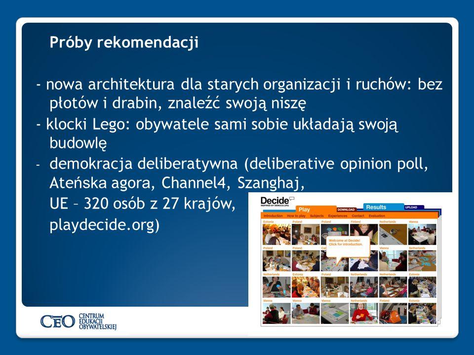 Próby rekomendacji - nowa architektura dla starych organizacji i ruchów: bez płotów i drabin, znaleźć swoją niszę - klocki Lego: obywatele sami sobie