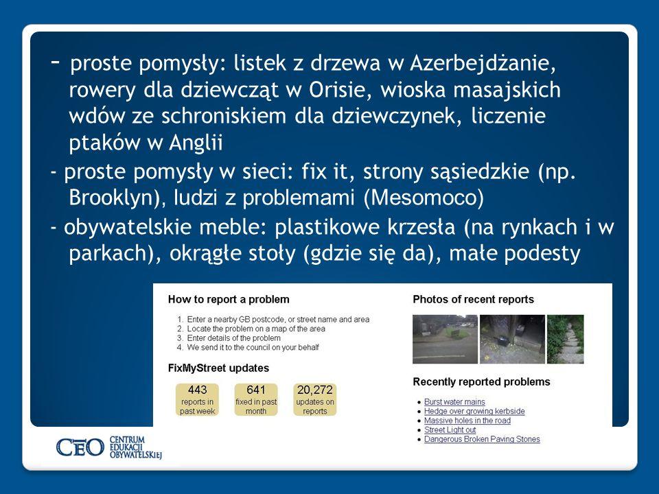 - proste pomysły: listek z drzewa w Azerbejdżanie, rowery dla dziewcząt w Orisie, wioska masajskich wdów ze schroniskiem dla dziewczynek, liczenie pta