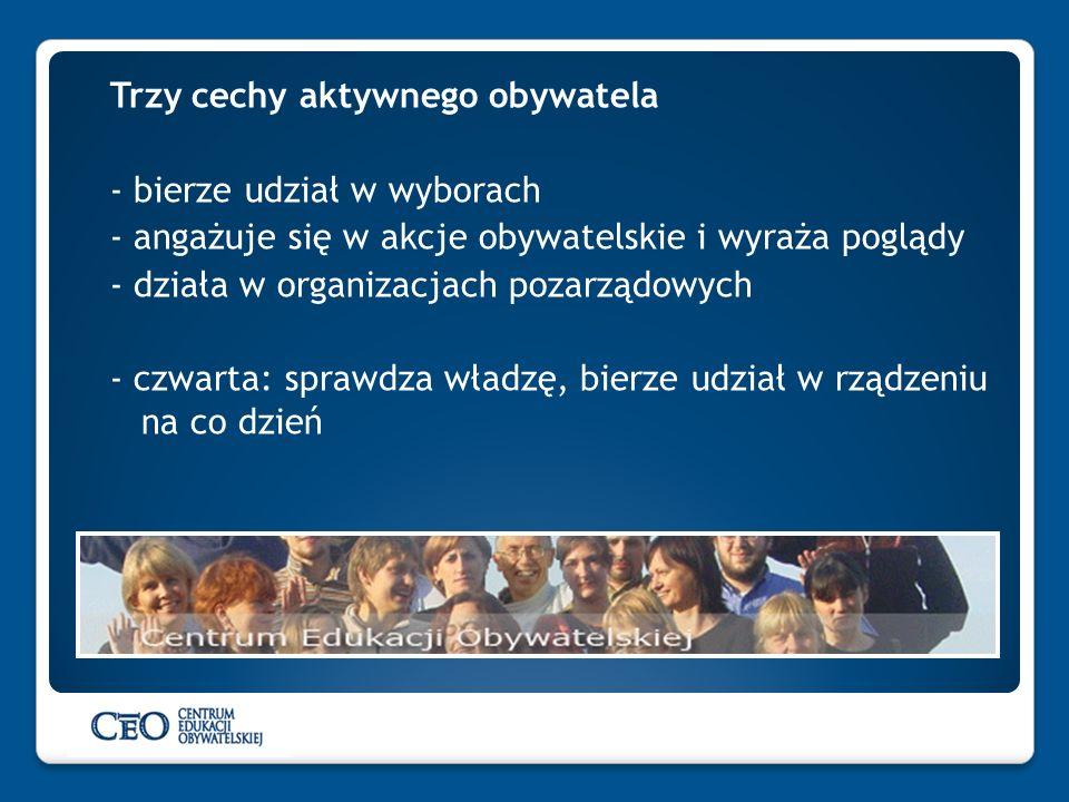 Trzy cechy aktywnego obywatela - bierze udział w wyborach - angażuje się w akcje obywatelskie i wyraża poglądy - działa w organizacjach pozarządowych