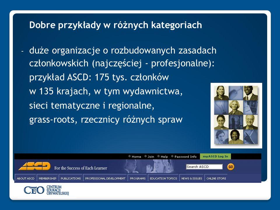 Dobre przykłady w różnych kategoriach - duże organizacje o rozbudowanych zasadach członkowskich (najczęściej - profesjonalne): przykład ASCD: 175 tys.