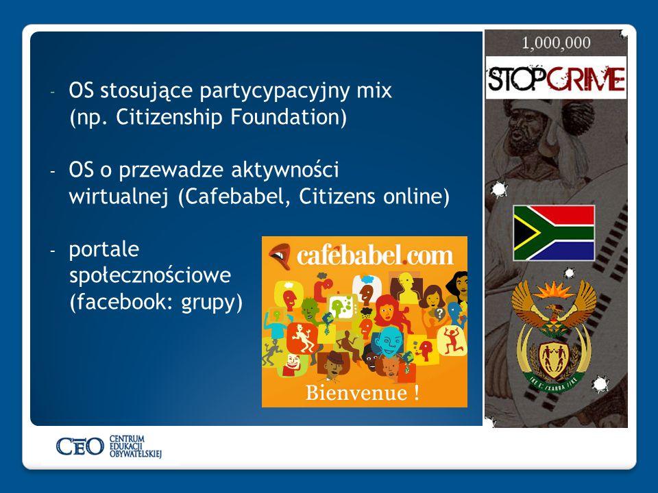 - OS stosujące partycypacyjny mix (np. Citizenship Foundation) - OS o przewadze aktywności wirtualnej (Cafebabel, Citizens online) - portale społeczno