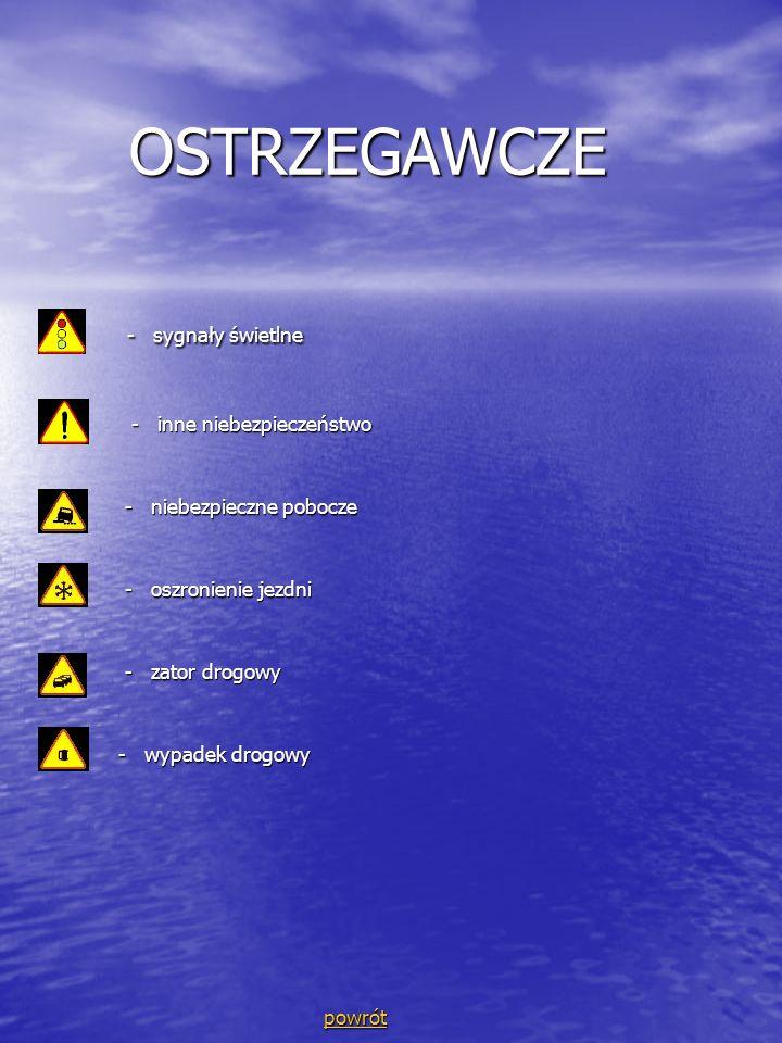 OSTRZEGAWCZE OSTRZEGAWCZE - sygnały świetlne - sygnały świetlne - inne niebezpieczeństwo - inne niebezpieczeństwo - niebezpieczne pobocze - niebezpiec