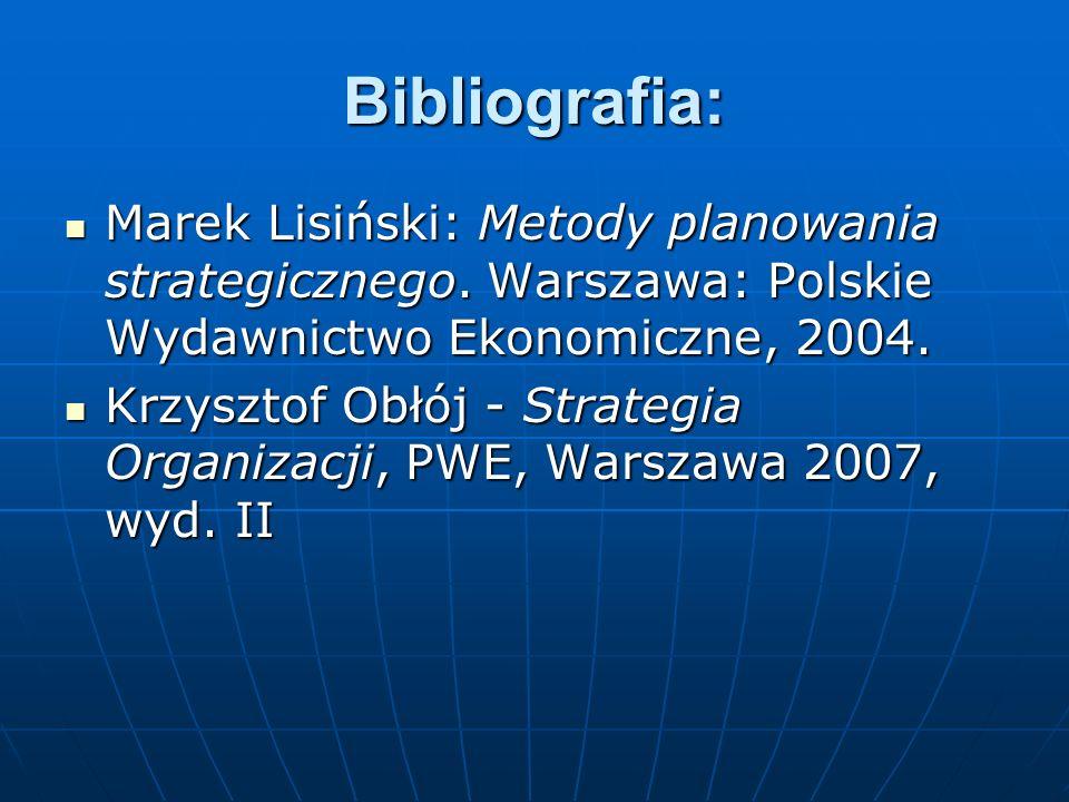 Bibliografia: Marek Lisiński: Metody planowania strategicznego. Warszawa: Polskie Wydawnictwo Ekonomiczne, 2004. Marek Lisiński: Metody planowania str