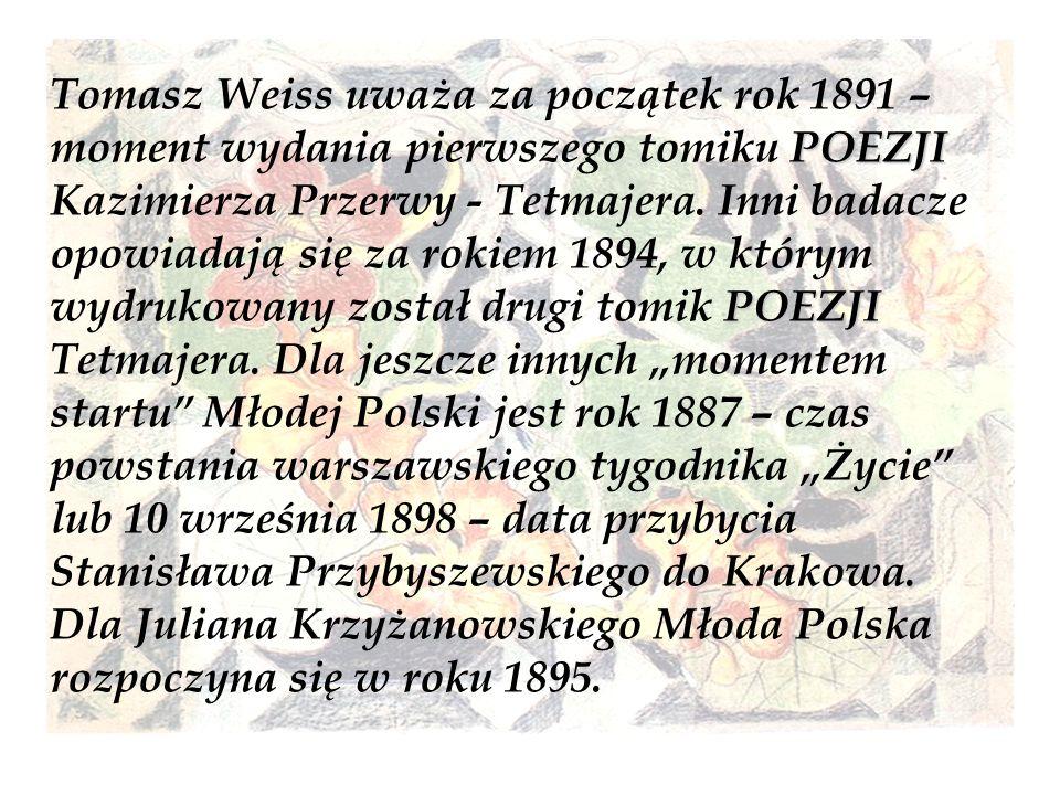 POEZJI POEZJI Tomasz Weiss uważa za początek rok 1891 – moment wydania pierwszego tomiku POEZJI Kazimierza Przerwy - Tetmajera. Inni badacze opowiadaj