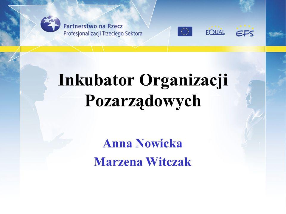 Inkubator Organizacji Pozarządowych Anna Nowicka Marzena Witczak