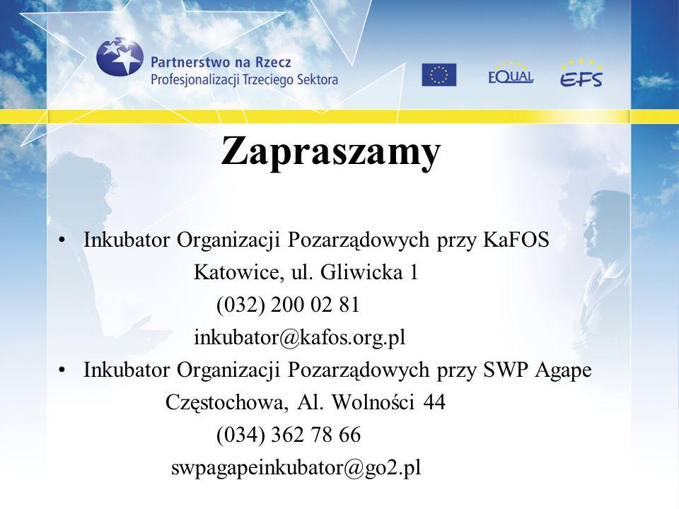 Zapraszamy Inkubator Organizacji Pozarządowych przy KaFOS Katowice, ul. Gliwicka 1 (032) 200 02 81 inkubator@kafos.org.pl Inkubator Organizacji Pozarz