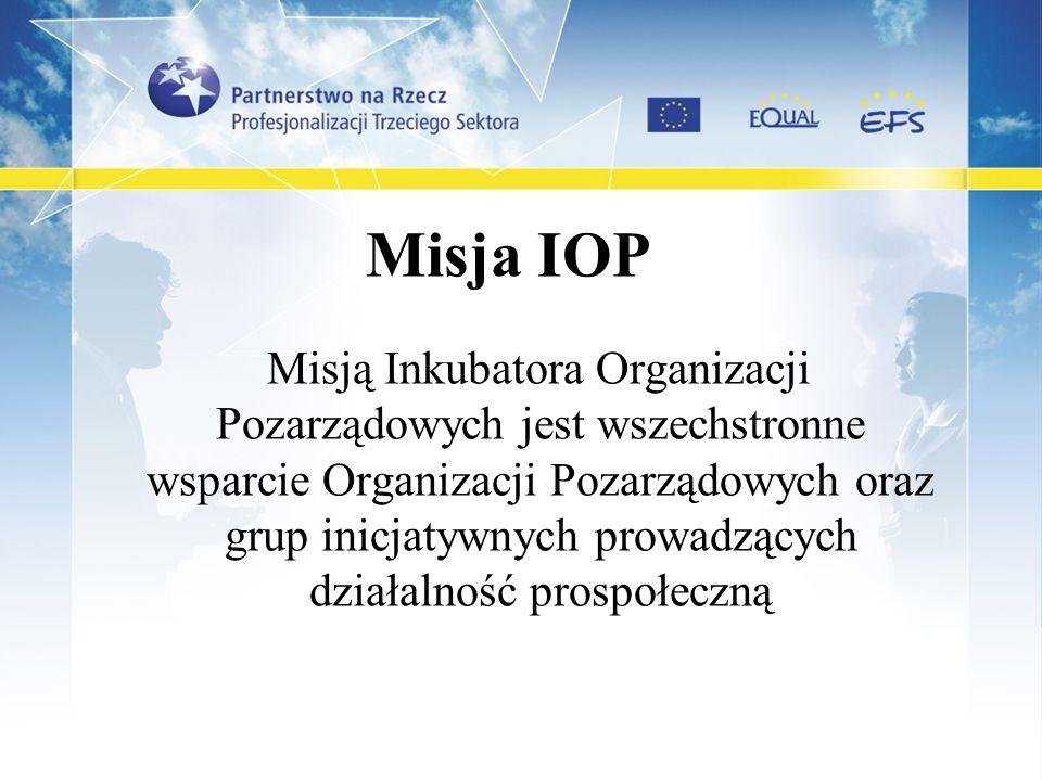 Misja IOP Misją Inkubatora Organizacji Pozarządowych jest wszechstronne wsparcie Organizacji Pozarządowych oraz grup inicjatywnych prowadzących działa