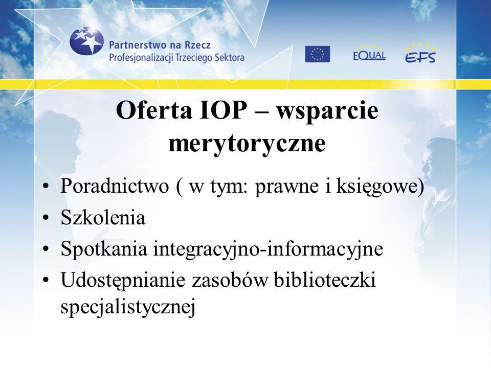 Oferta IOP – wsparcie merytoryczne Poradnictwo ( w tym: prawne i księgowe) Szkolenia Spotkania integracyjno-informacyjne Udostępnianie zasobów bibliot