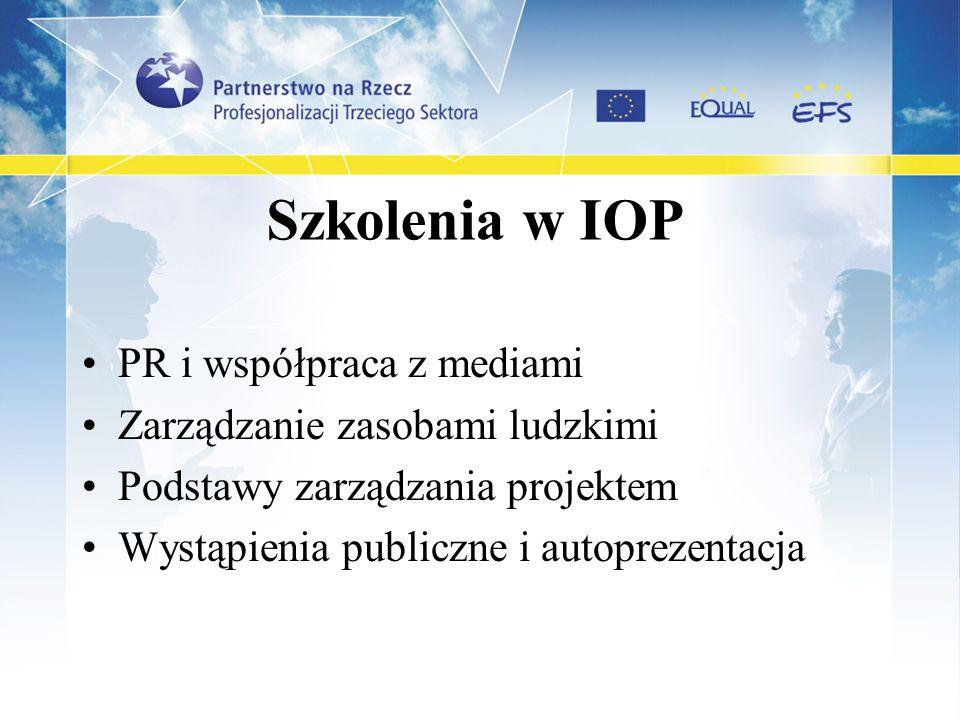 Szkolenia w IOP PR i współpraca z mediami Zarządzanie zasobami ludzkimi Podstawy zarządzania projektem Wystąpienia publiczne i autoprezentacja