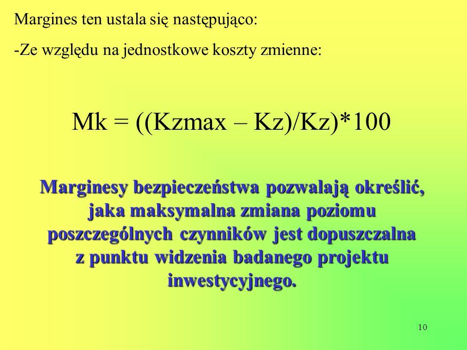 10 Margines ten ustala się następująco: -Ze względu na jednostkowe koszty zmienne: Mk = ((Kzmax – Kz)/Kz)*100 Marginesy bezpieczeństwa pozwalają okreś