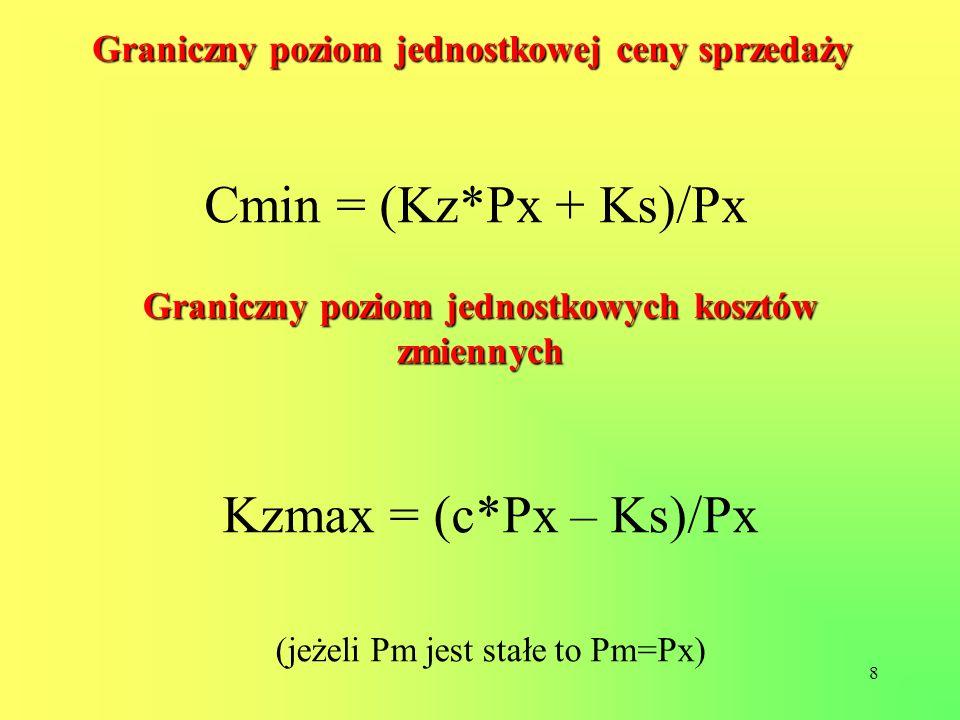 8 Graniczny poziom jednostkowej ceny sprzedaży Cmin = (Kz*Px + Ks)/Px Graniczny poziom jednostkowych kosztów zmiennych Kzmax = (c*Px – Ks)/Px (jeżeli