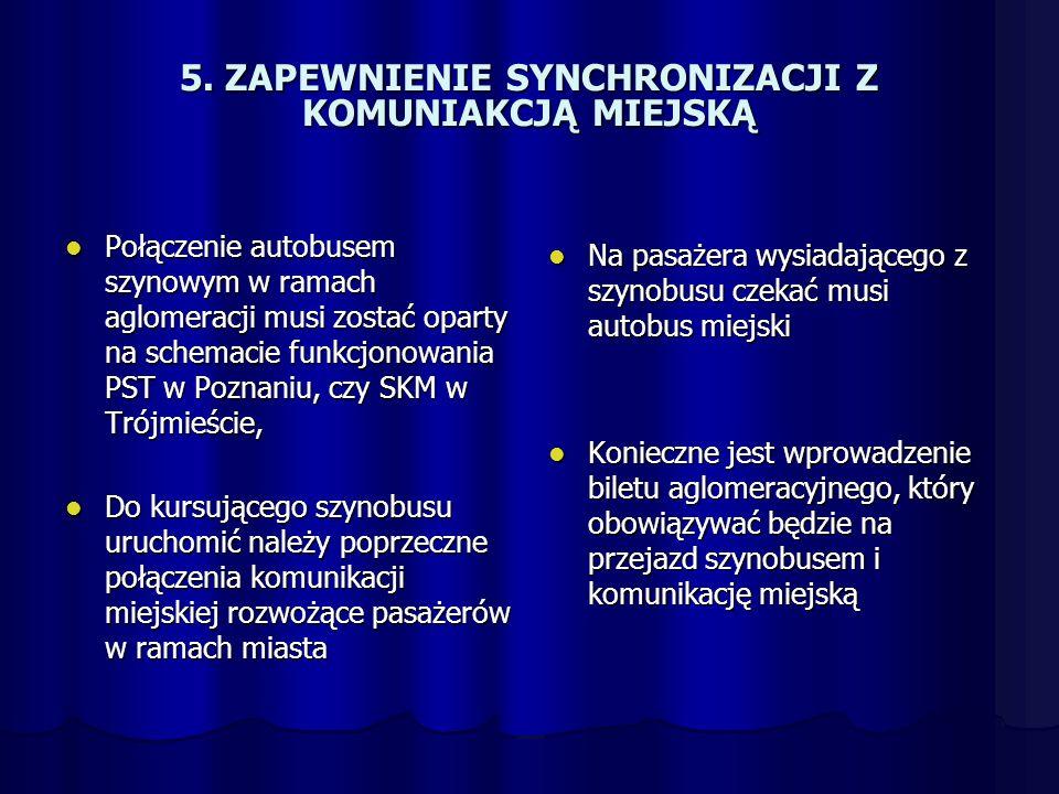 5. ZAPEWNIENIE SYNCHRONIZACJI Z KOMUNIAKCJĄ MIEJSKĄ Połączenie autobusem szynowym w ramach aglomeracji musi zostać oparty na schemacie funkcjonowania