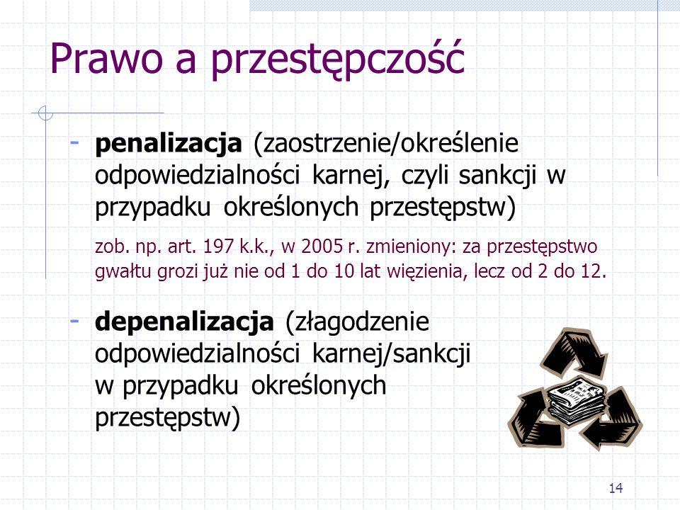 14 Prawo a przestępczość - penalizacja (zaostrzenie/określenie odpowiedzialności karnej, czyli sankcji w przypadku określonych przestępstw) zob. np. a