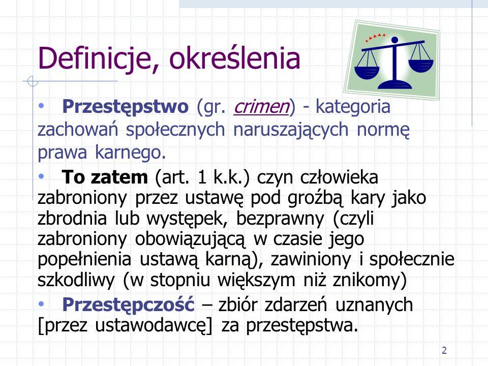 Definicje, określenia Przestępstwo (gr. crimen) - kategoria zachowań społecznych naruszających normę prawa karnego. To zatem (art. 1 k.k.) czyn człowi