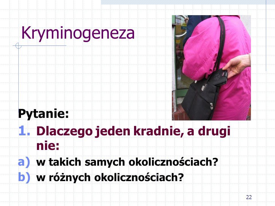 22 Kryminogeneza Pytanie: 1. Dlaczego jeden kradnie, a drugi nie: a) w takich samych okolicznościach? b) w różnych okolicznościach?
