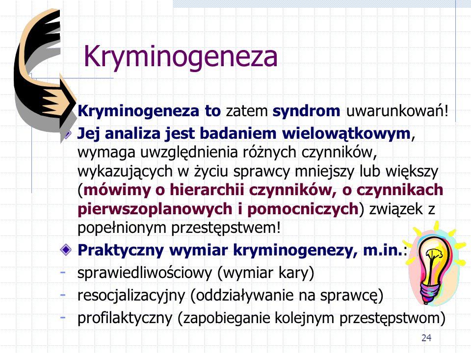 24 Kryminogeneza Kryminogeneza to zatem syndrom uwarunkowań! Jej analiza jest badaniem wielowątkowym, wymaga uwzględnienia różnych czynników, wykazują