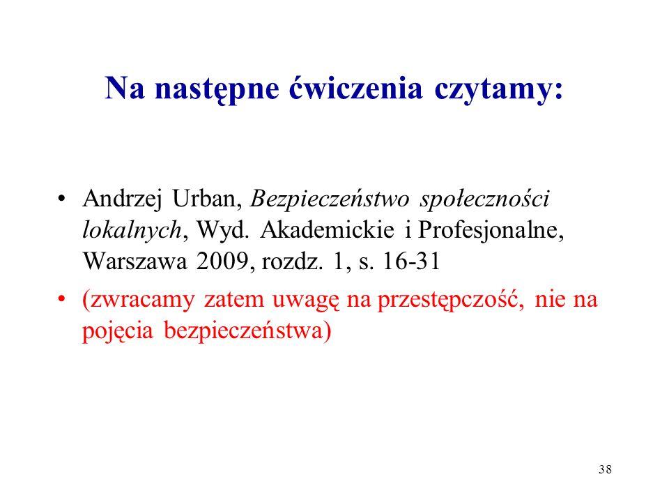 Na następne ćwiczenia czytamy: 38 Andrzej Urban, Bezpieczeństwo społeczności lokalnych, Wyd. Akademickie i Profesjonalne, Warszawa 2009, rozdz. 1, s.