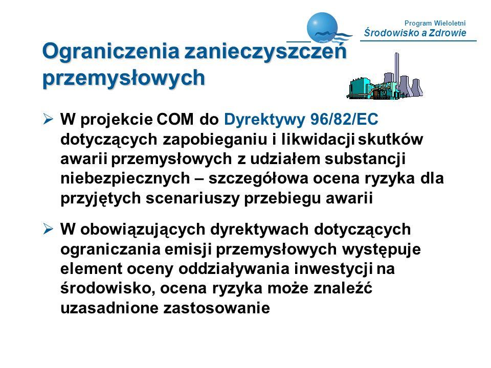 Program Wieloletni Środowisko a Zdrowie Ograniczenia zanieczyszczeń przemysłowych W projekcie COM do Dyrektywy 96/82/EC dotyczących zapobieganiu i lik
