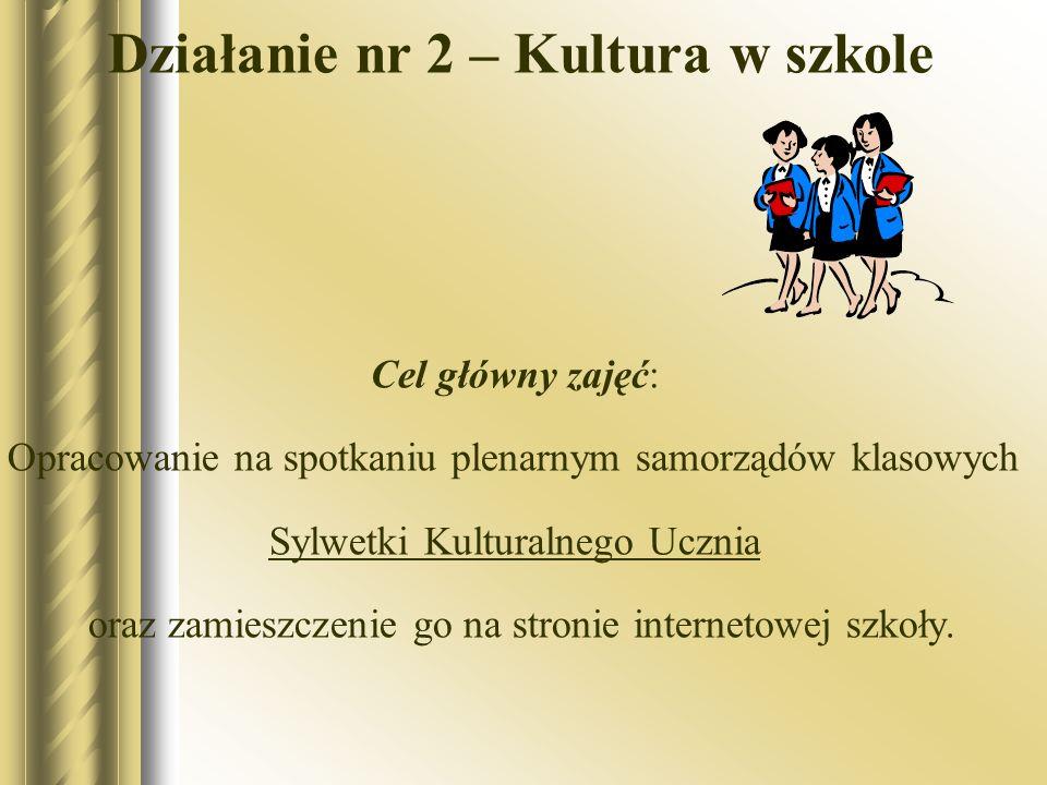 Działanie nr 2 – Kultura w szkole Cel główny zajęć: Opracowanie na spotkaniu plenarnym samorządów klasowych Sylwetki Kulturalnego Ucznia oraz zamieszc