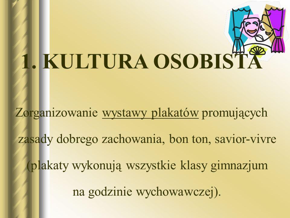 1. KULTURA OSOBISTA Zorganizowanie wystawy plakatów promujących zasady dobrego zachowania, bon ton, savior-vivre (plakaty wykonują wszystkie klasy gim